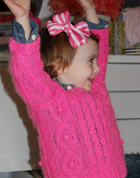{sweater: crewcuts own} {chambray: gap, own} { pink stripe medium bow, loozie loo hairbows, $6}