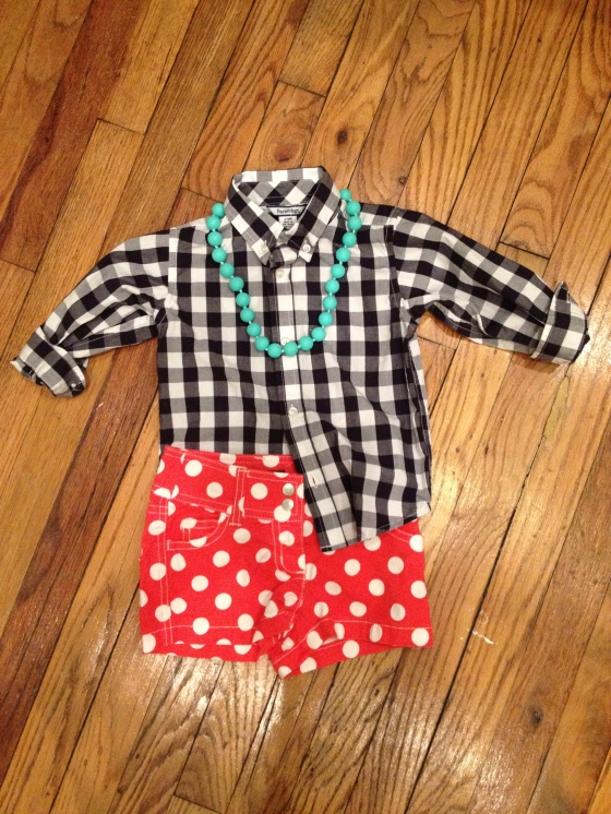 black macro check shirt, hartstrings 24m $12.00 | red polka dot short, mini boden 4T $18.00 | turquoise necklace, juniorbeads by chewbeads $19.95